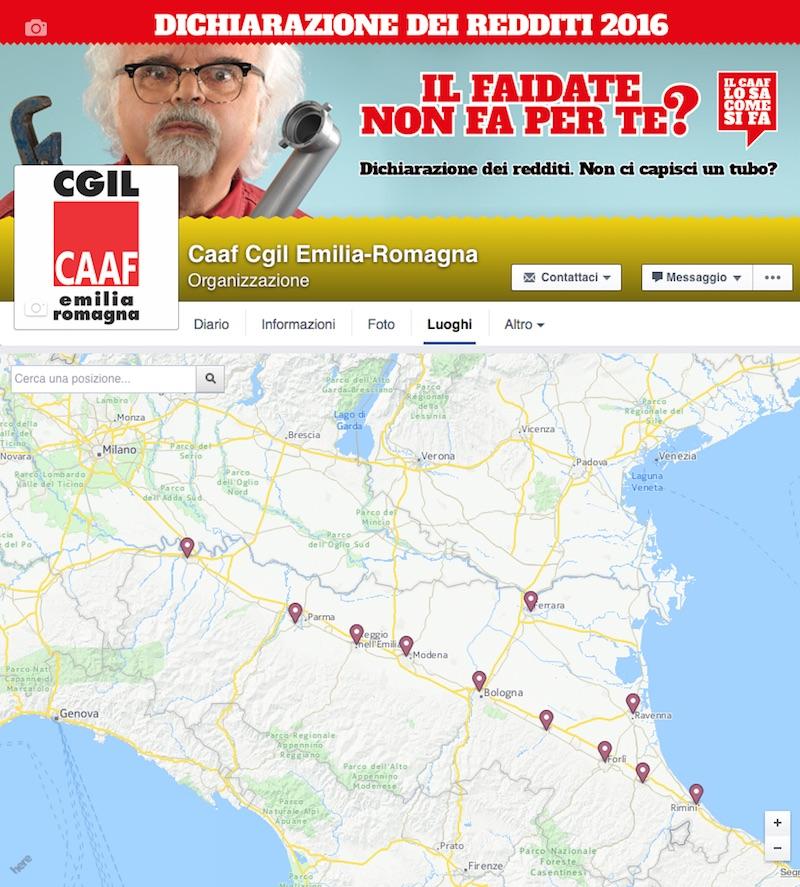 CAAF CGIL Emilia-Romagna Facebook Locations Redesign Bologna