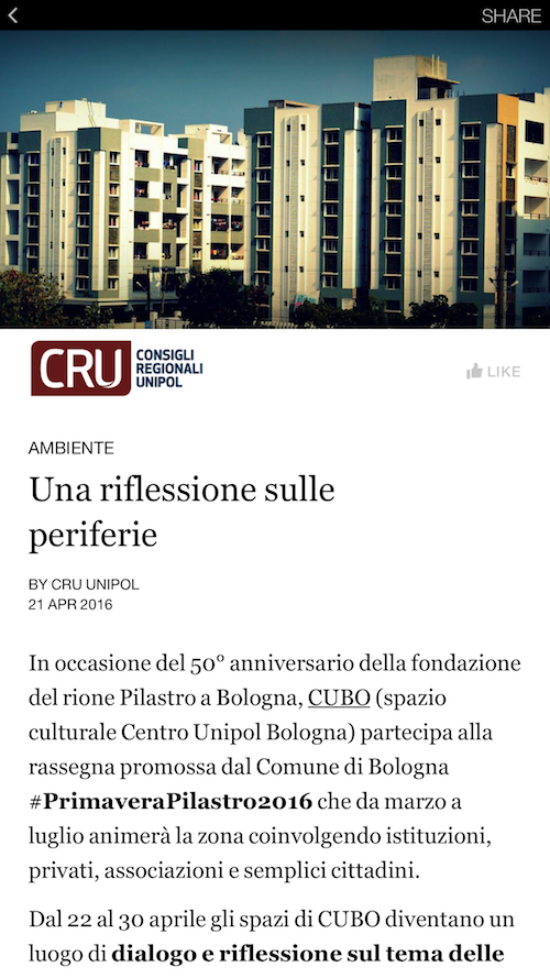 Instant Articles Facebook CRU Unipol Redesign Agenzia Comunicazione Bologna