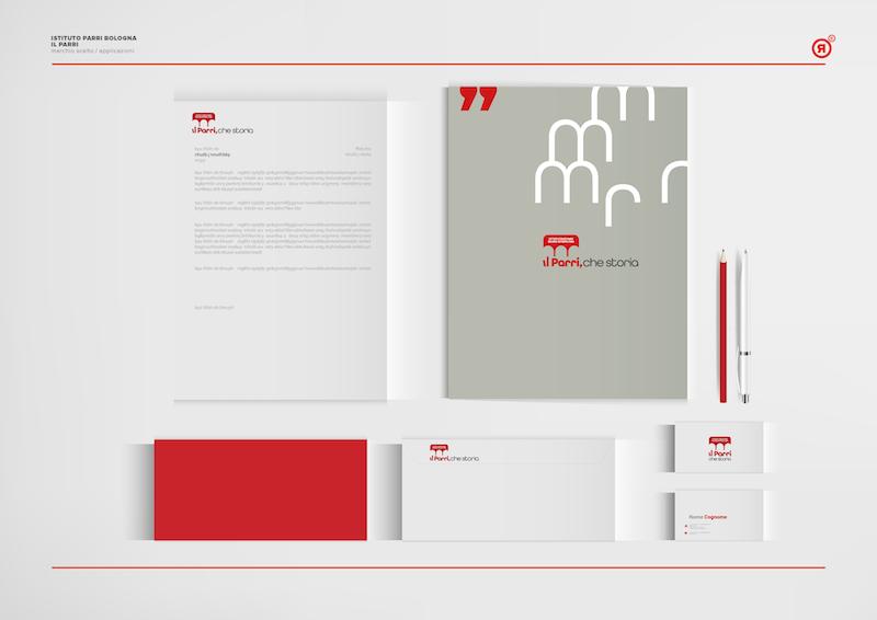 Applicazioni nuovo logo Parri Redesign Agenzia Comunicazione Bologna
