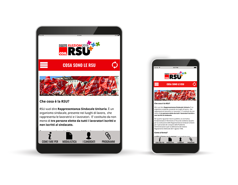 App - FP CGIL - Elezioni RSU 2018 - - Redesign agenzia di comunicazione Bologna